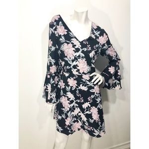 Cynthia Steffe Floral Lily Ruffle Sleeve D…